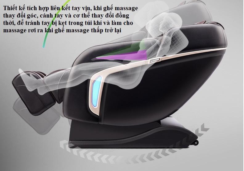 thiết kế tích hợp liên kết tay vịn của ghế massage toàn thân KS 869