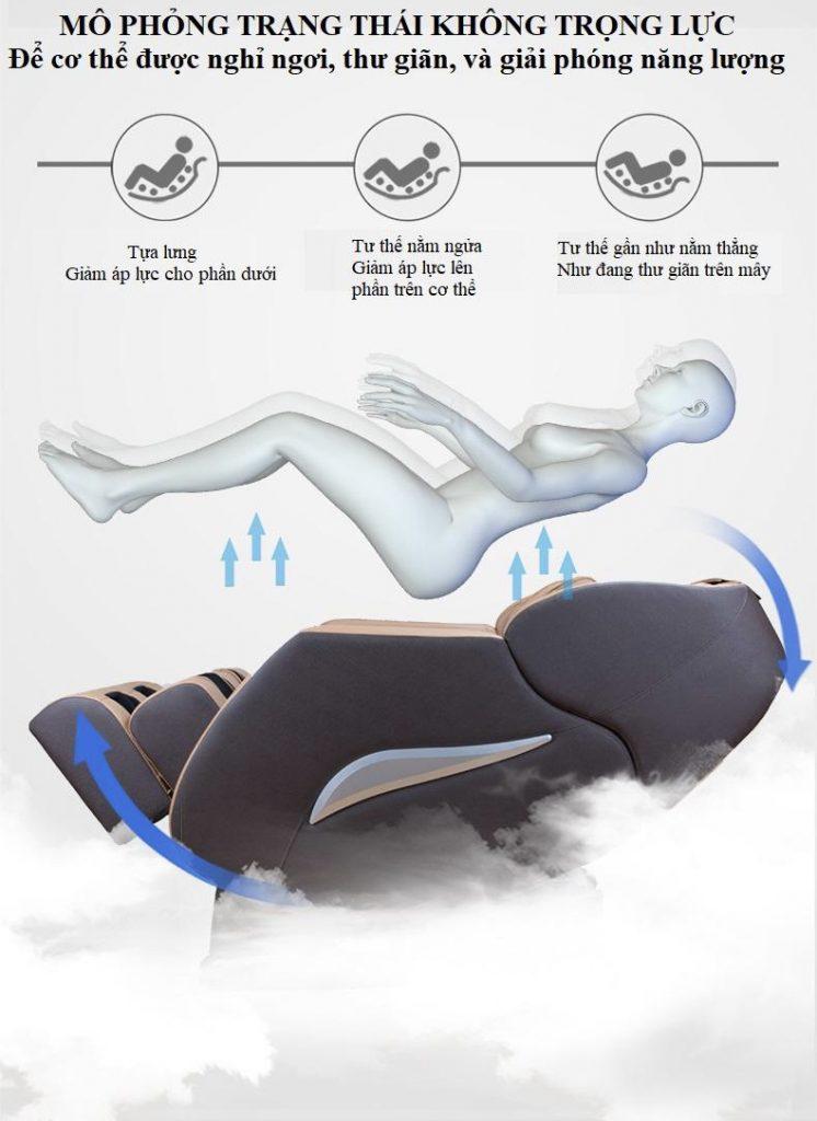 CHẾ ĐỘ MASSAGE KHÔNG TRỌNG LỰC CỦA ghế massage toàn thân KS 818